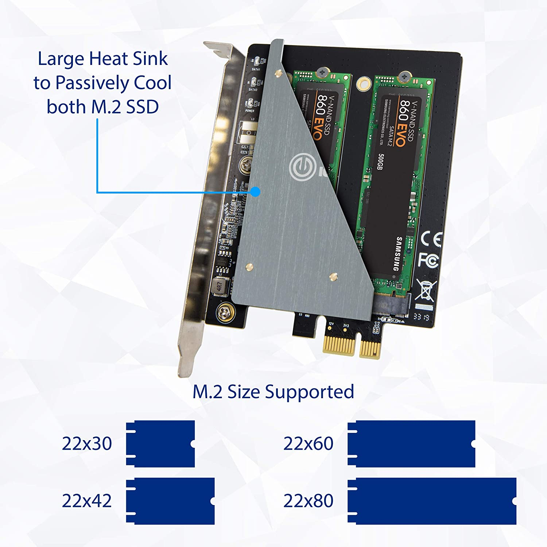 SI-PEX40153 IO CREST Dual M.2 B-Key SSD Carrier PCI Express 3.0 x1 Adapter Card Support 2X M.2 B-Key SATA SSD Jmicron JMB582 Chipset