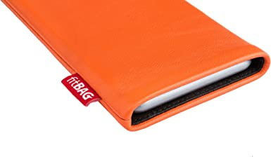 fitBAG Beat Orange custom tailored sleeve for Huawei P40 Lite Fine nappa leather pouch case cover with MicroFibre lining for display cleaning Made in Germany