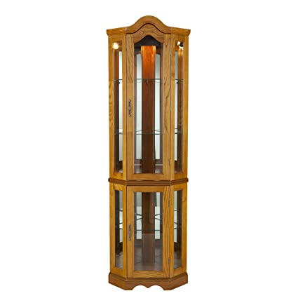 Southern Enterprises Lighted Corner Curio Cabinet, Golden Oak Finish with  Antique Hardware - Amazon.com: Southern Enterprises Lighted Corner Curio Cabinet