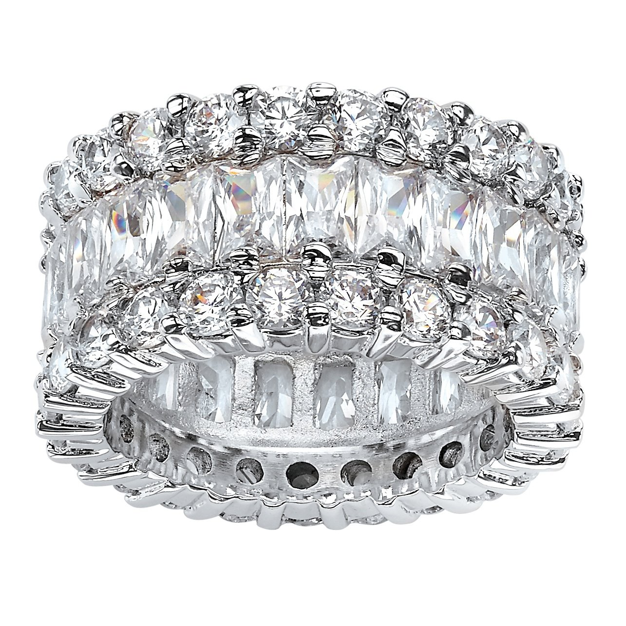 Platinum over Sterling Silver Baguette Cubic Zirconia and Round Eternity Ring Size 10 by Palm Beach Jewelry