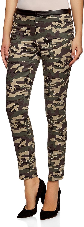 oodji Ultra Mujer Pantalones de Estilo Militar con Cintura de Piel Sintética