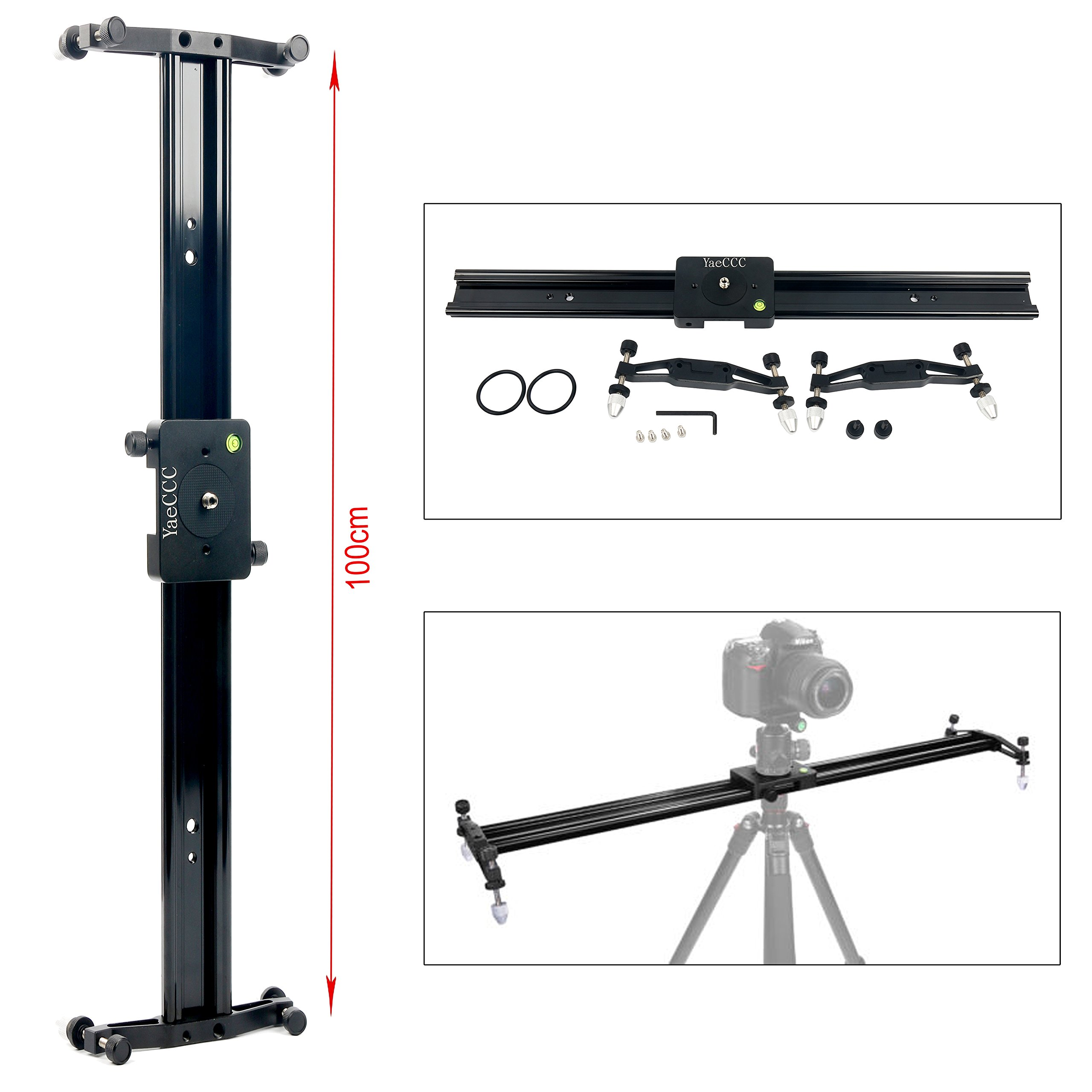 YaeCCC DSLR Camera Track Dolly Slider Video Stabilization Rail System, Perfect for Photography and Video (40''/100cm)