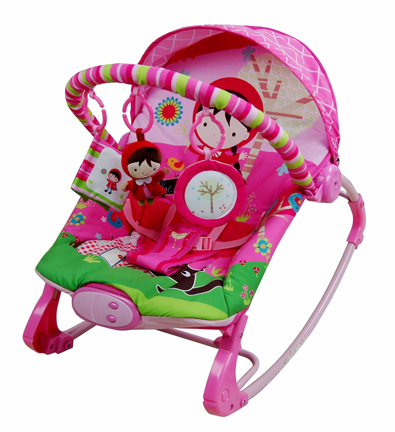 Care Pink Girl Rocker Rocking Chair Bouncer Musical Melodies Soothing Vibration Baby Bouncing Reclining Chair with 3 Hanging Toys just 4 baby