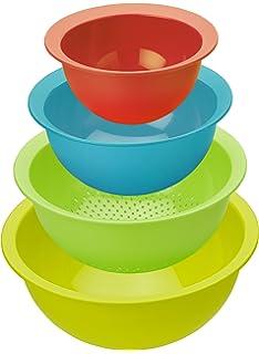 Rotho Cocina Set Caruba – 4 coloreado – Juego de 3 cuencos para mezclar y 1