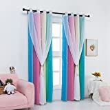 Drewin 2 Panels Rainbow Curtains for Girls Bedroom 63 Inches Length Stars Cut Out Colorful Blackout Curtain Kids Room Darkeni