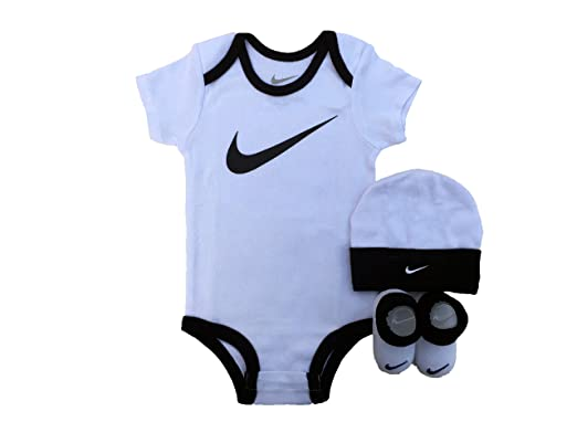 Nike Infant Babys 3-Piece Bodysuit, Hat & Booties Set (0/6