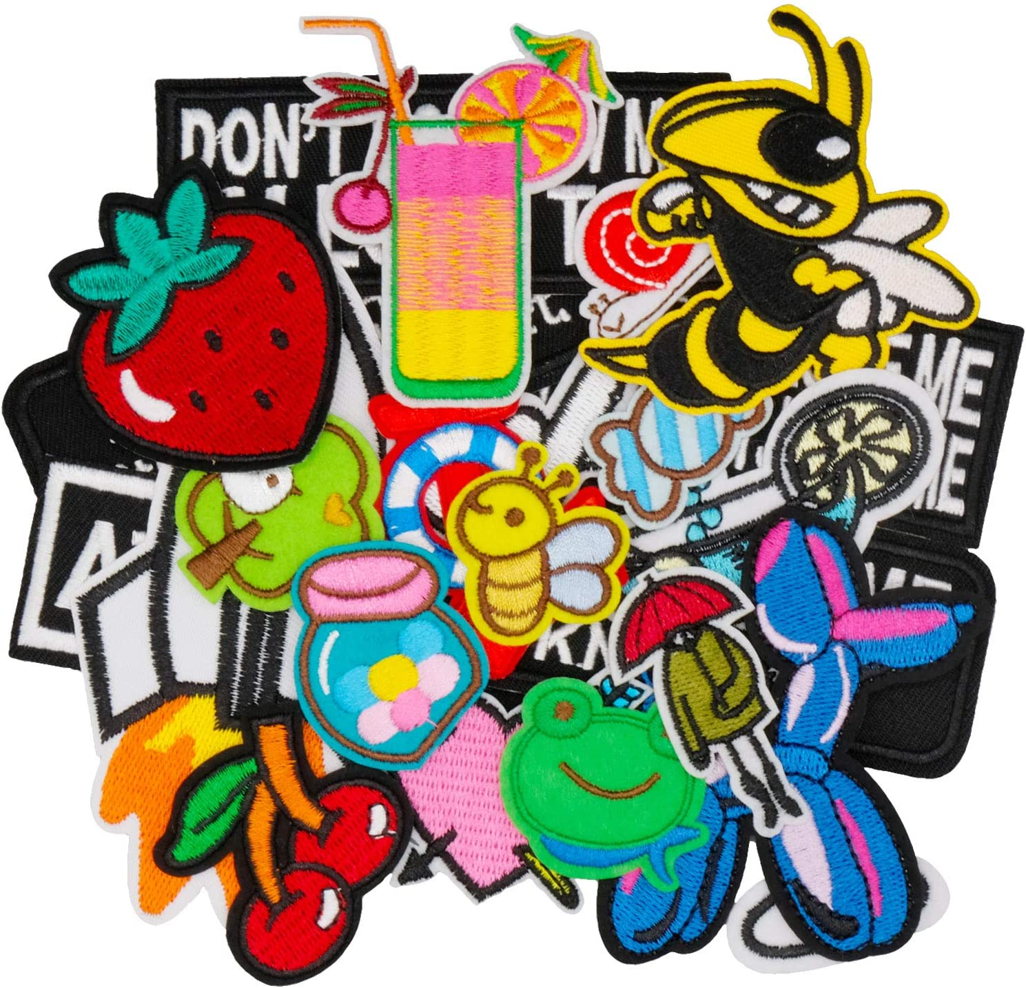 Wlkq 22pcs Embroidered Patch Accessories Assorted Size DIY Patches Sew On/Iron On Patches Applique for Jackets Jeans Pants Backpacks Clothes Hats (Wappen-44-22Pcs)