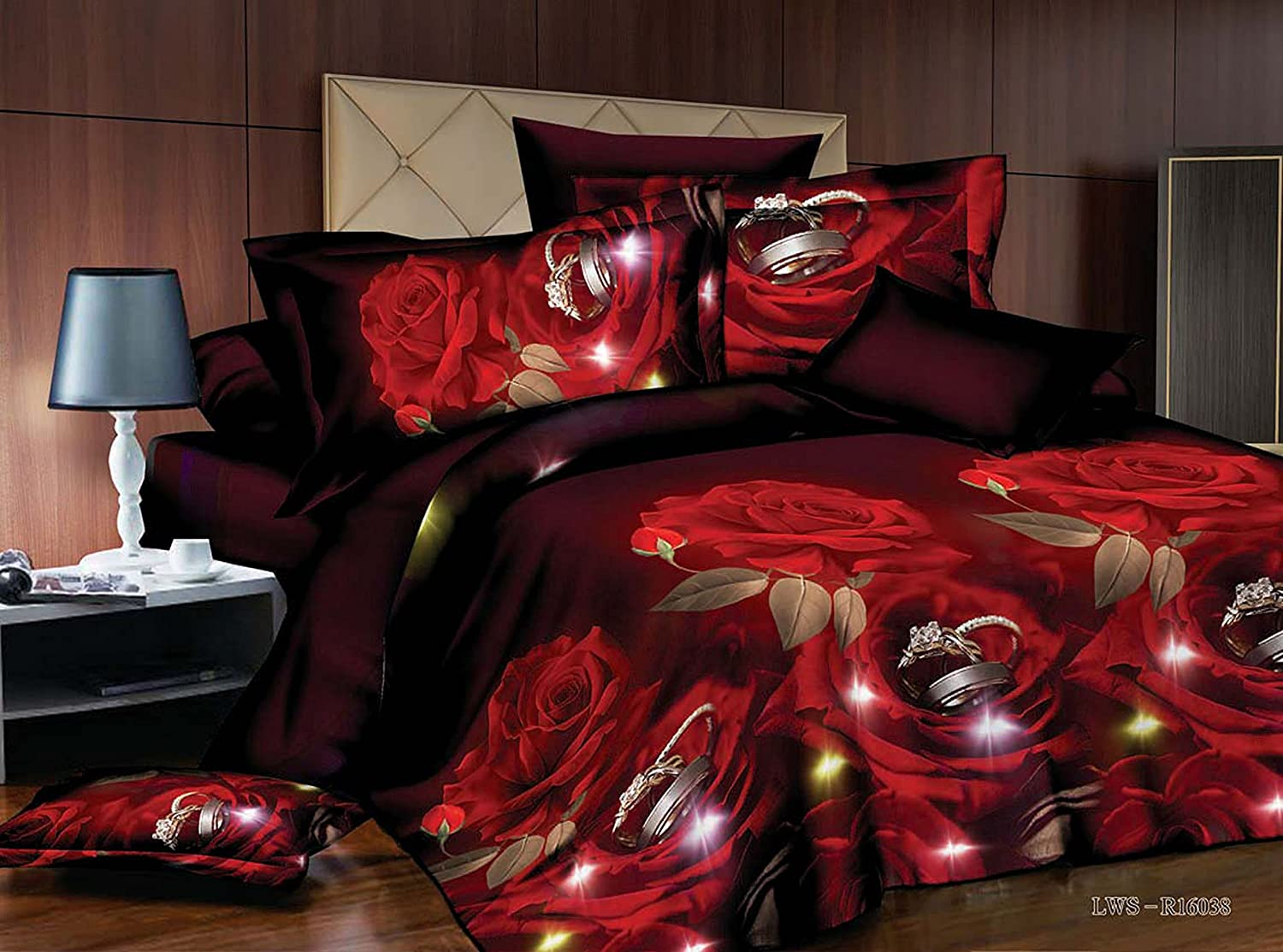 Bednlinens Luxury 4 Piece Sheet Set 3d Red Rose and Rings Print King Size Maroon