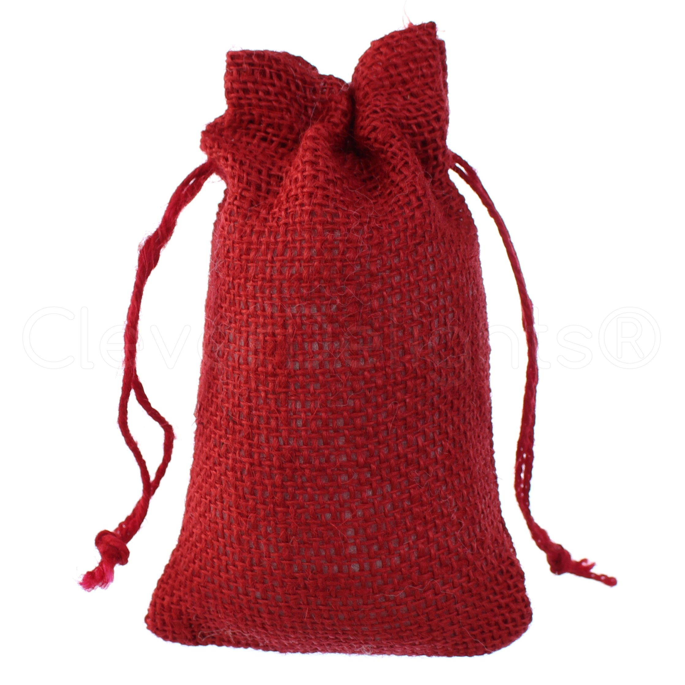 25 Pack - CleverDelights 4'' x 6'' Red Burlap Bags with Natural Jute Drawstring - Small Burlap Pouch - Christmas Present Holiday Décor Rustic Party Favor Bags