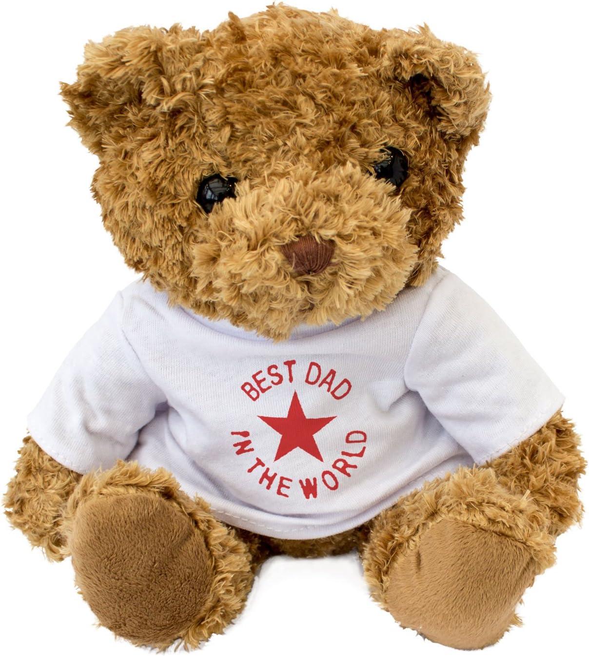 London Teddy Bears Oso de Peluche con Texto en inglés Best Dad in The World, Color Blanco