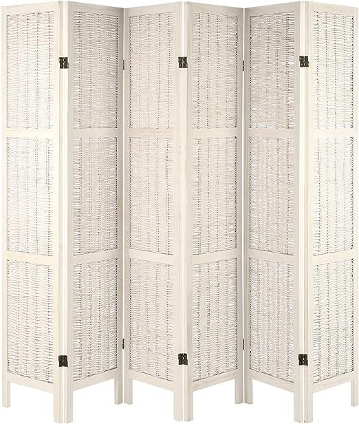 Hartleys Mampara Plegable con Marco de Madera - Crema - 6 Paneles ...