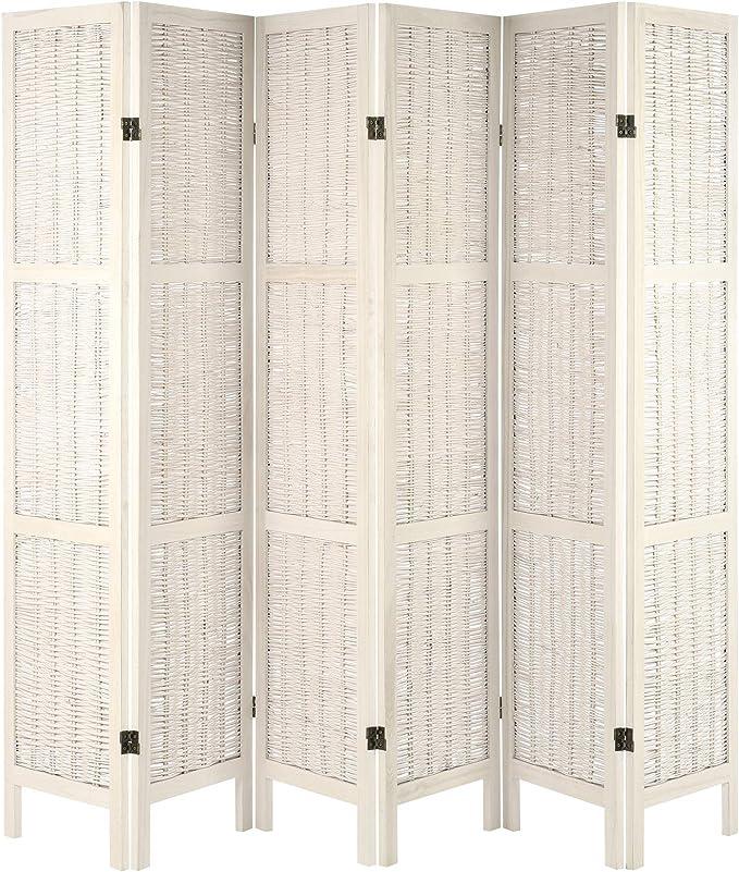 Hartleys Mampara Plegable con Marco de Madera - Crema - 6 Paneles: Amazon.es: Hogar