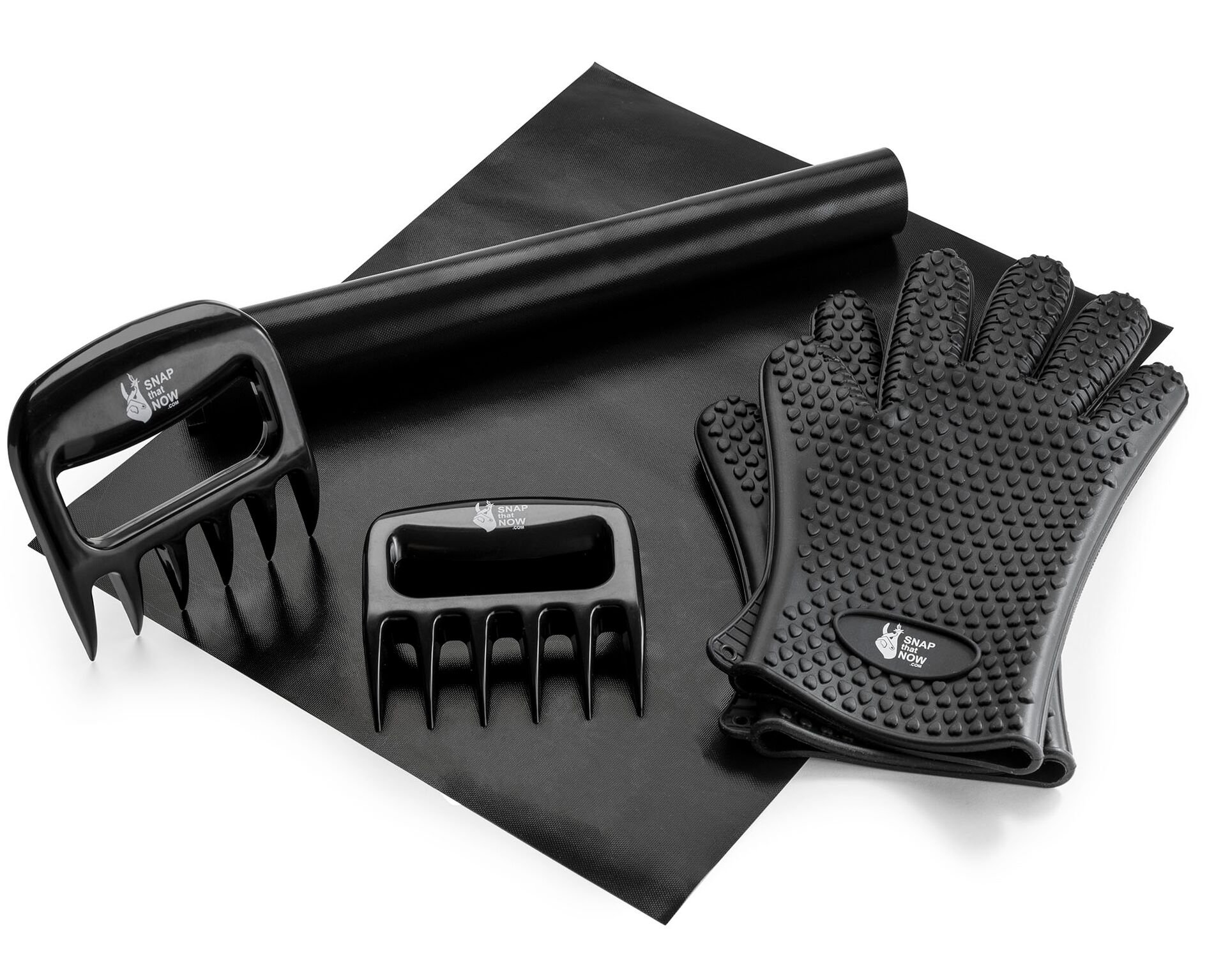 SNAP that NOW BBQ Grill Gloves, Mat & Claws with a Pair of BBQ Mat, Barbecue Glove & Pork Shredder - Professional Grade, Easy-Clean Grilling Tools and Accessories