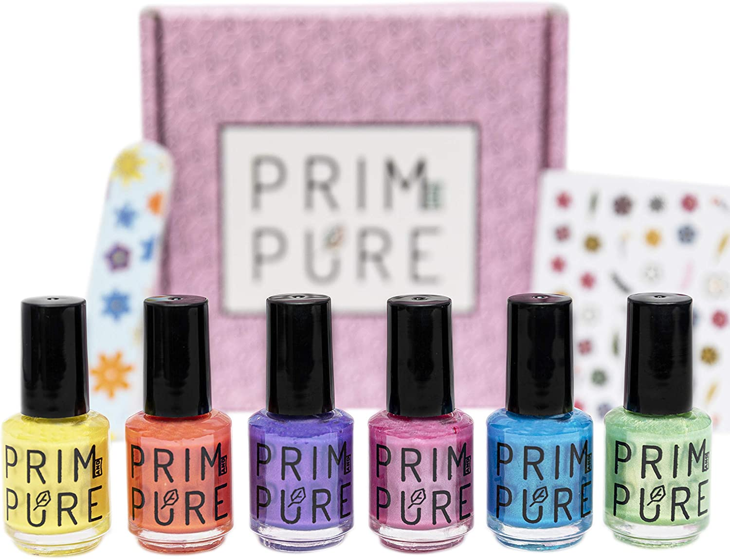 Amazon Com Prim And Pure Nail Polish Set Made For Kids Nail Polish For Children Kid Safe Fashion Solution Peel Off Non Toxic Formula 6 Pack Health Personal Care