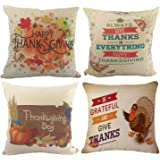 Happy Thanksgiving Throw Pillow Covers - Wonder4 Cotton Linen Home Decor Design Thanksgiving Decorations for Home Sofa Bedding Throw Pillow Case Cushion Covers 18x18 Inch Set of 4