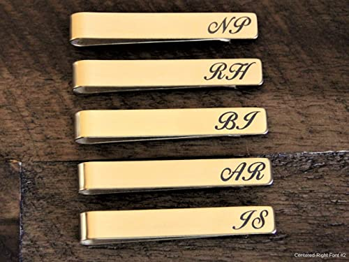 Custom Wedding Gift | Husband Gift Wedding Gift Mens Accessory Goldtone Brass Tie Bar Tie Clip Groomsmen Gift