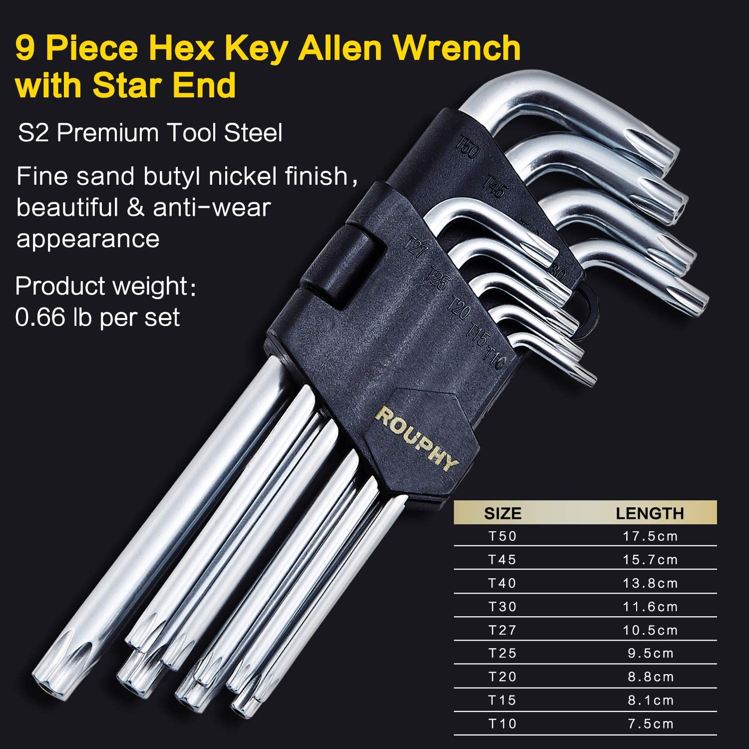 Inch//Metric Strength Increasing T-Handle Premium S2 Tool Steel 35-Piece HRC60/±2 ROUPHY Industrial Grade Long Arm Hex Key Allen Wrench Set with Ball /& Star End