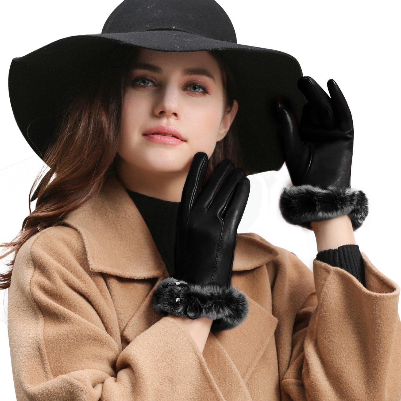 GSG Womens Luxury Genuine Rex Rabbit Fur Italian Genuine Nappa Leather Driving Gloves Touchscreen Fashion Lady Winter Black