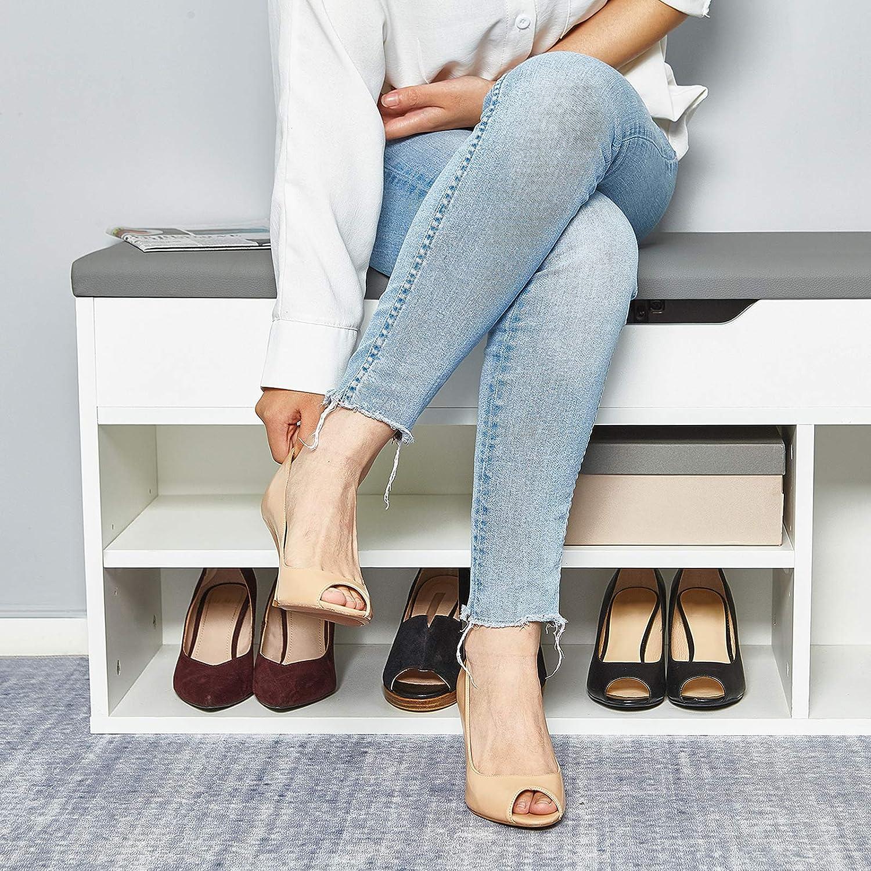 Meerveil Schuhbank aus E1 Holzspanplatte Natur Flur Schuhregal 104 x 45 x 30 cm Aufklappbare Schuhschrank mit Sitzkissen