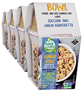 Heaven & Earth Quinoa Bowl with Zucchini and Onion Bruschetta 6.5oz (4 Pack) | Ready to Eat, All Natural, Gluten Free