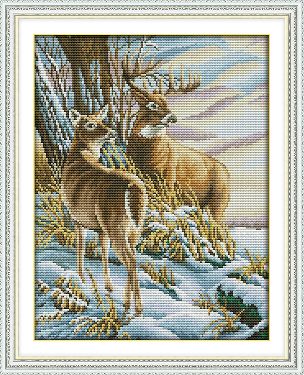 WHEEXLOCK Stamped Cross Stitch Two Deer 11 Count 16.5