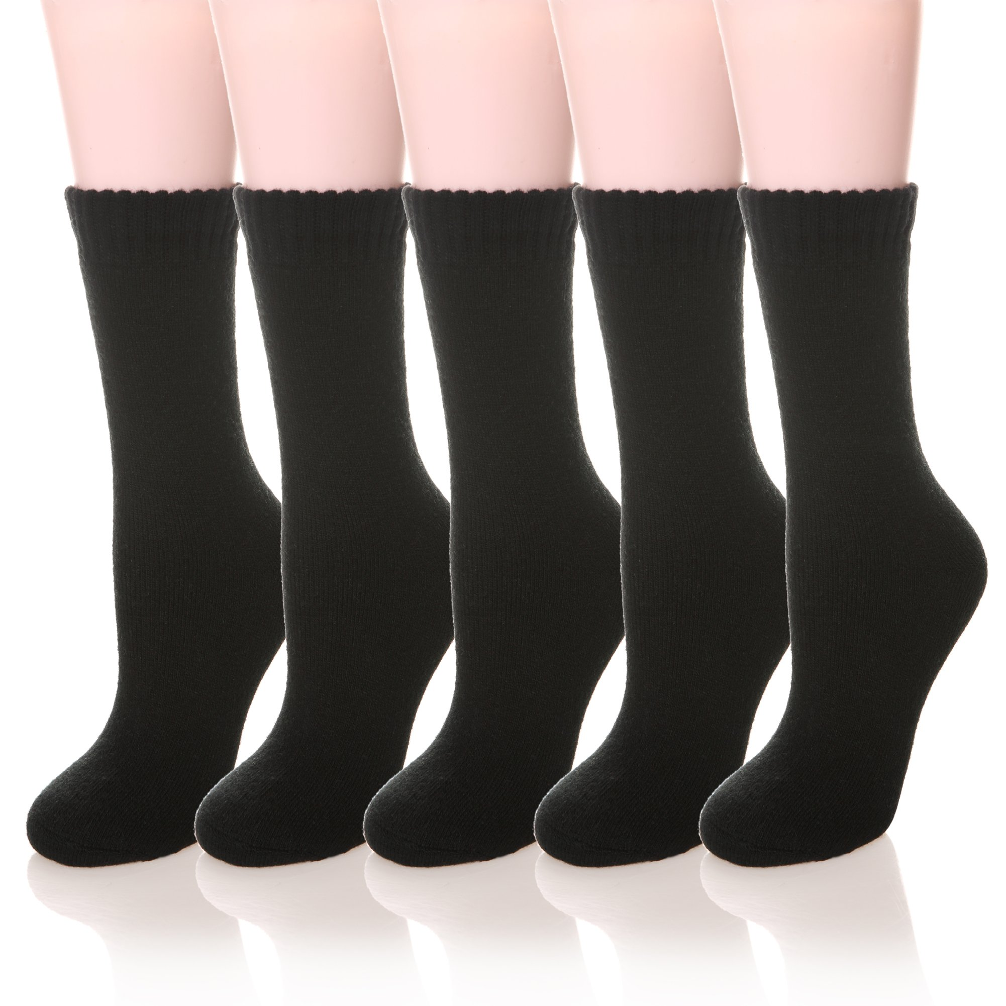 Color City Women's Super Thick Soft Knit Wool Warm Winter Crew Socks - 5 Pack (Black)