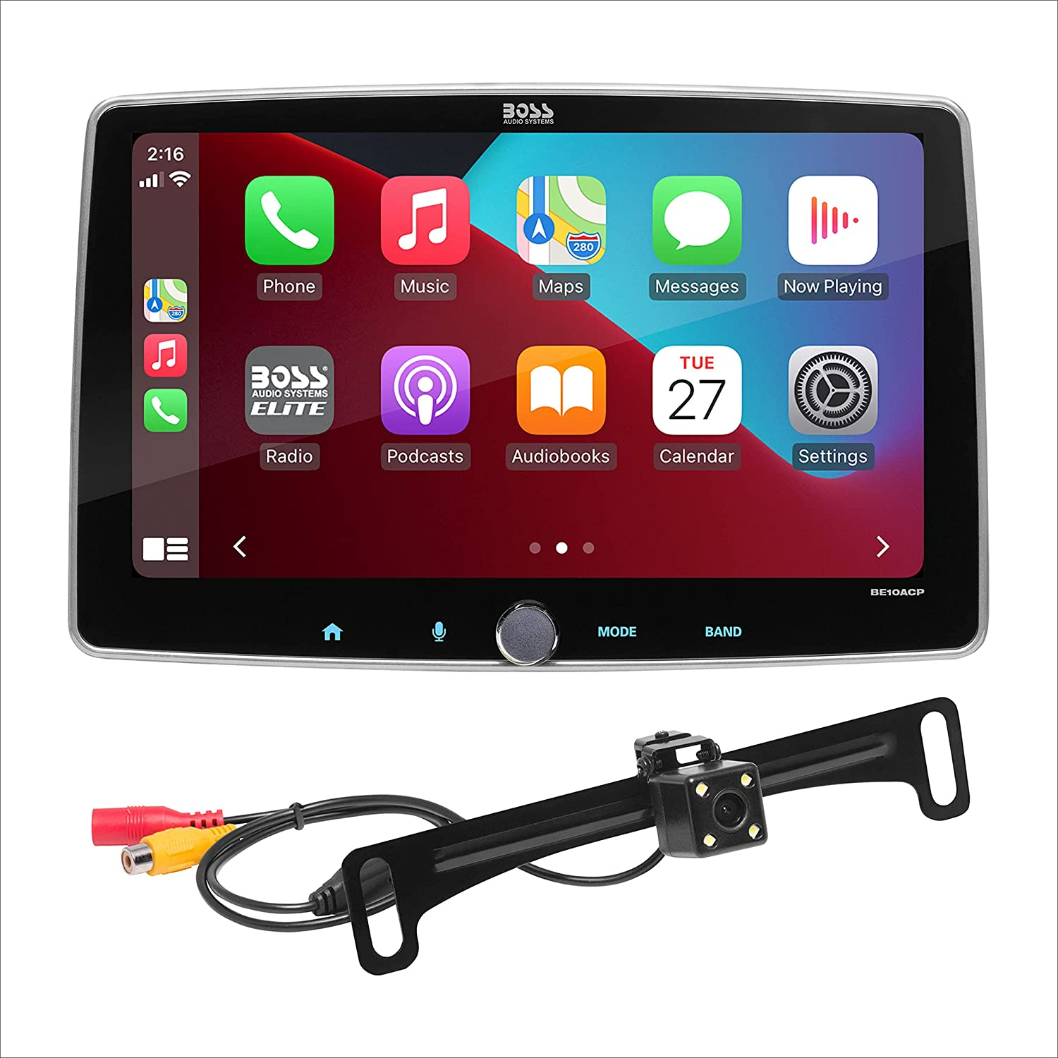 BOSS Audio Systems BE10ACP-C - Apple CarPlay, Android Auto, Single Din Chassis with Double DIN Conversion Brackets, Detachable 10 Inch Touchscreen, Bluetooth, No DVD, RGB Illumination, Rear Camera