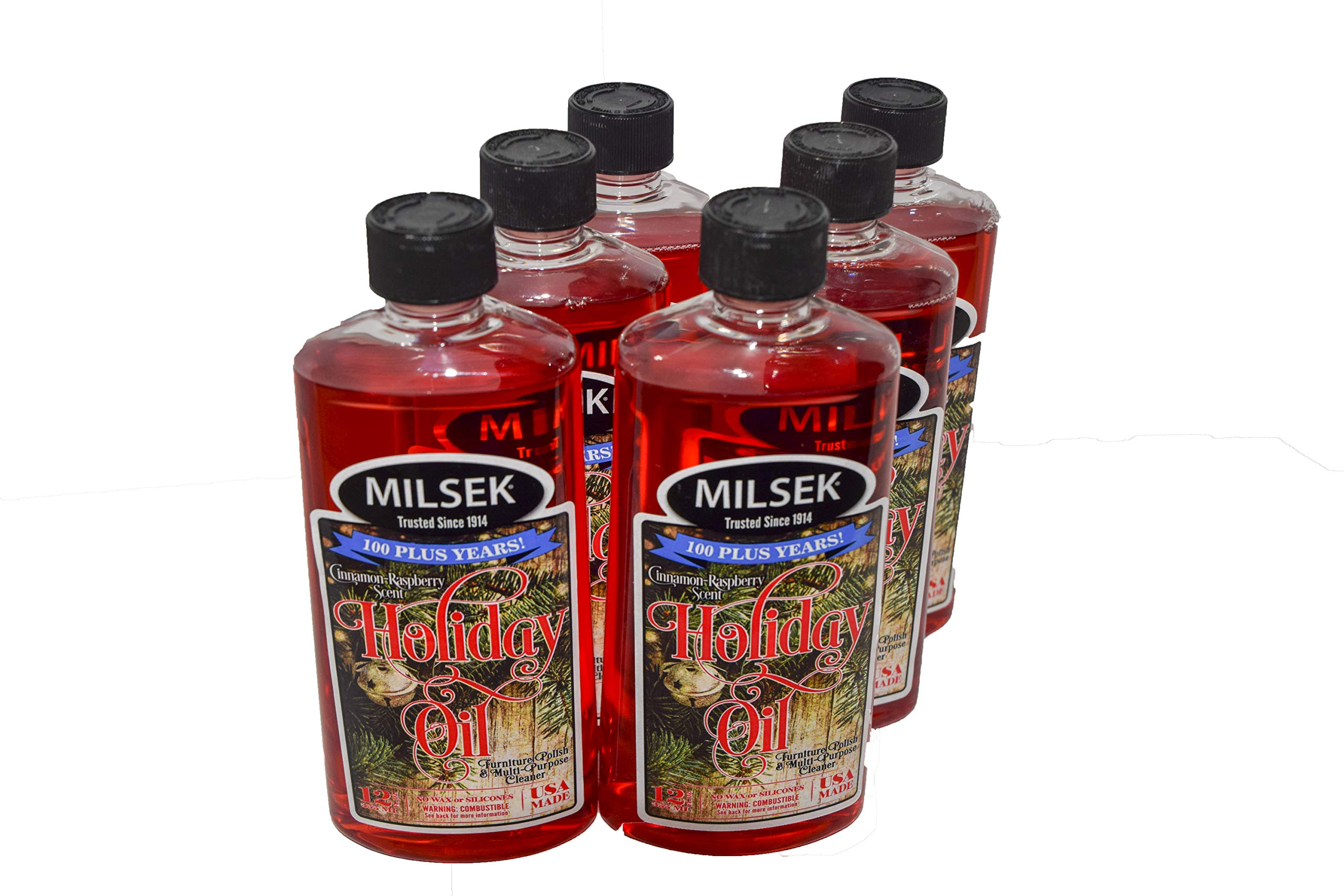 Milsek Furniture Polish and Cleaner with Cinnamon-Raspberry Scent (Holiday Oil), 12-Ounce, Pack of 6, HO-6 by Milsek