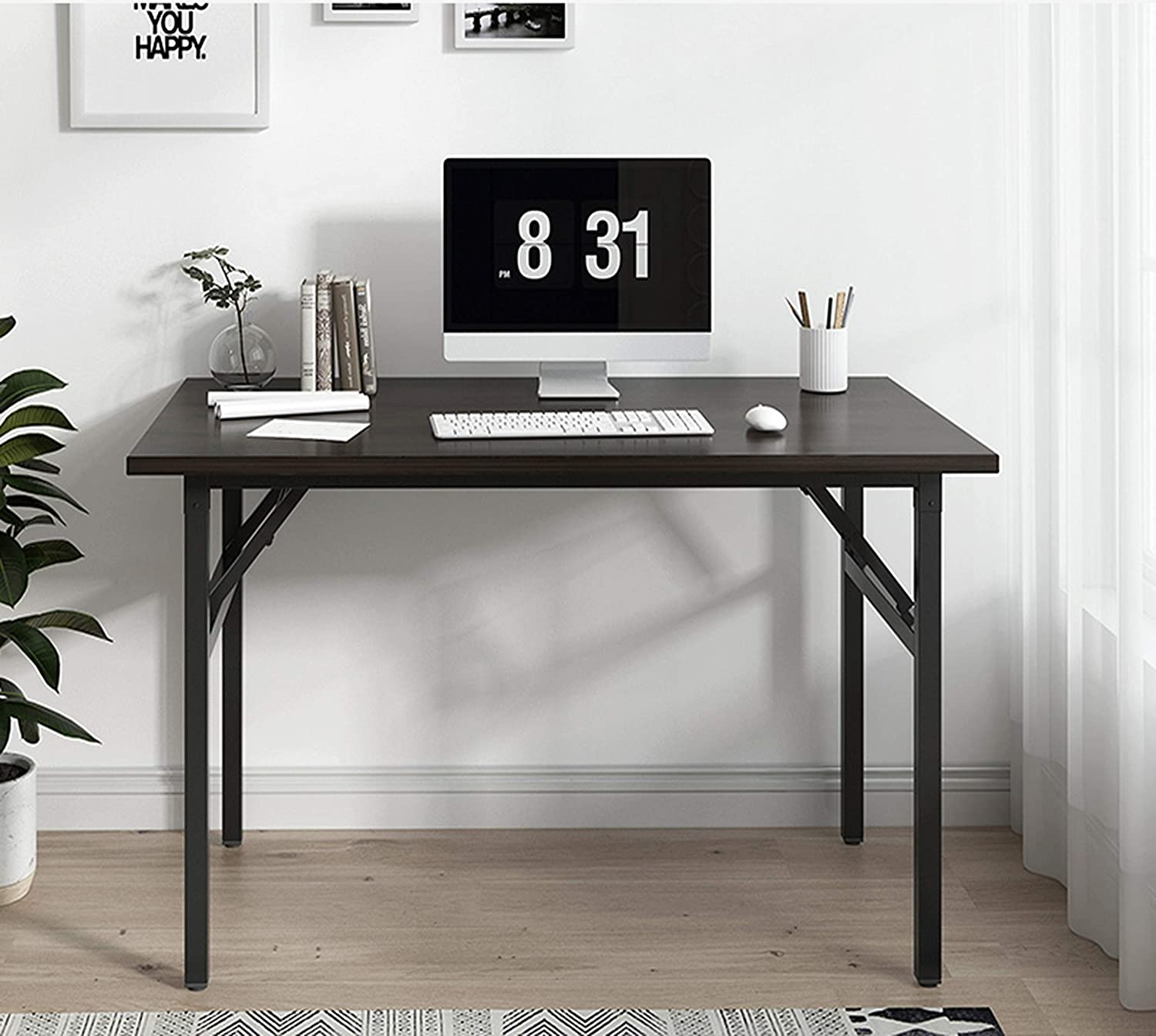 """31"""" Folding Commercial Table Training Table Folding Computer Desk Workstation Folding Laptop Table,Home Office Desk, No Assembly Needed,Rustin Brown"""