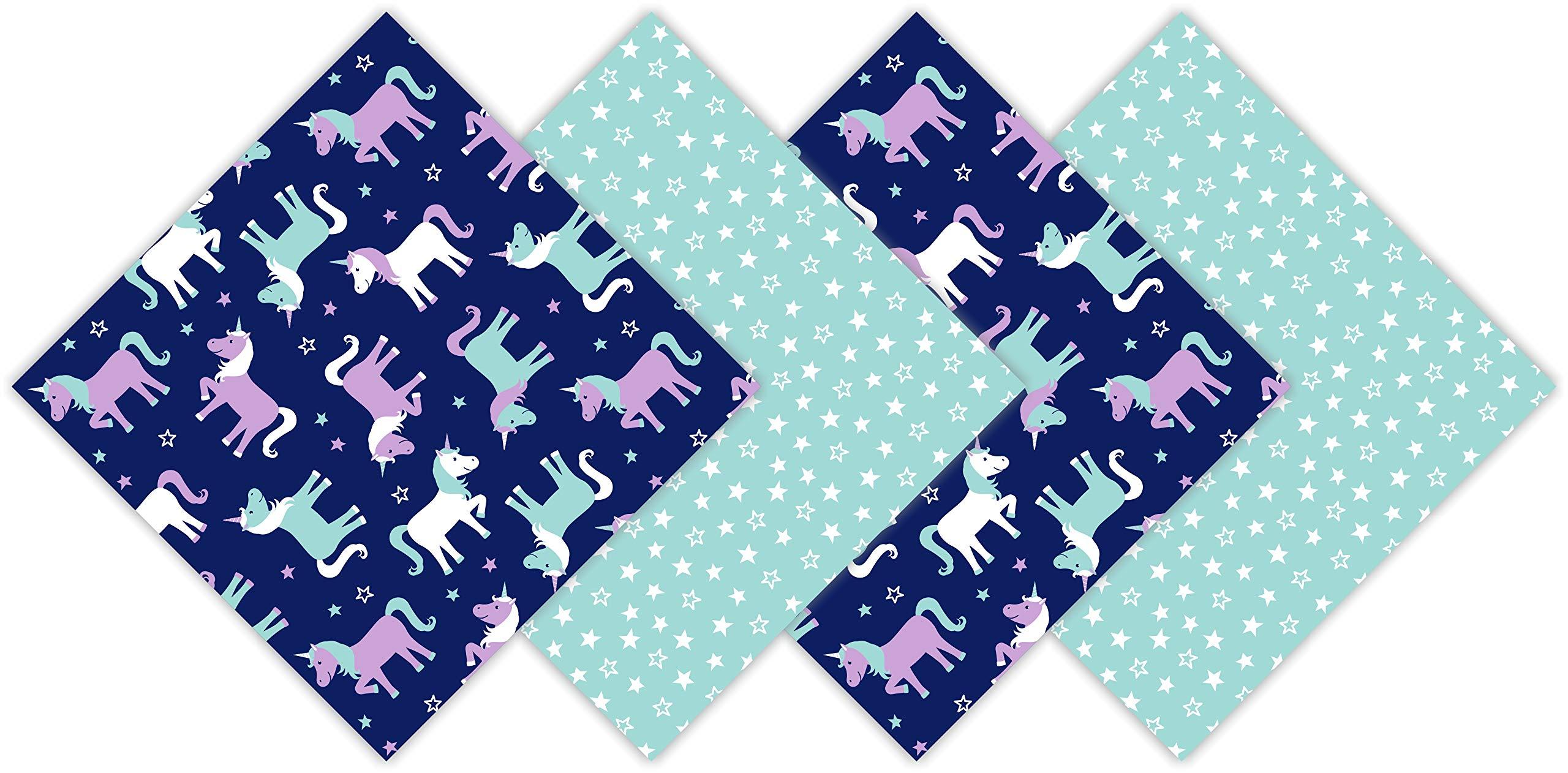 Funkins Reusable Cloth Napkins for Kids | Lunch Boxes | Eco-Friendly | Machine Washable | Name Tag | Set of 4, 12''x12'' Soft Cotton Napkins | Magical Unicorns