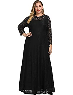 a8e4c09eccc Chicwe Women s Plus Size Stretch Floral Lace Maxi Dress Gown Scalloped Neck  Long Sleeves Pockets