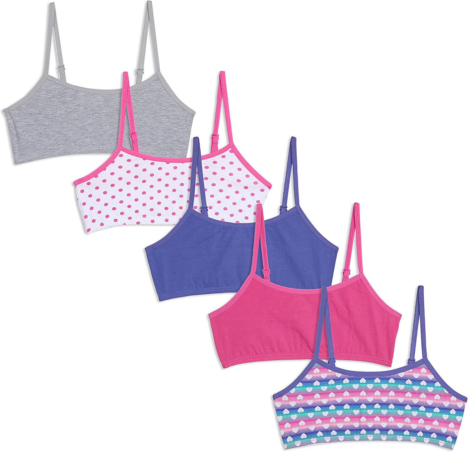 COVER GIRL Girls 5-Pack Cotton Stretch Crop Bralette with Adjustable Straps