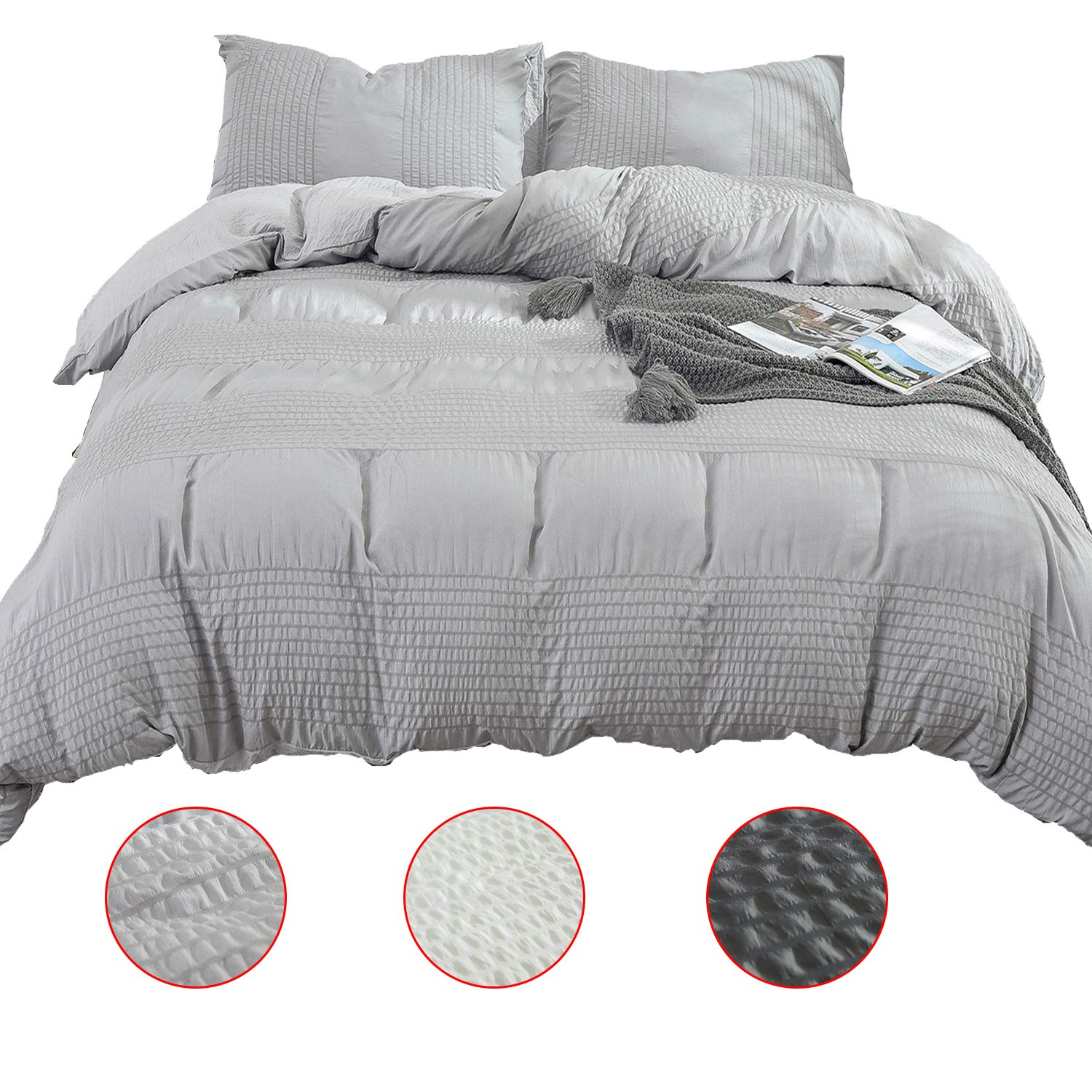 XingShow Solid King Duvet Cover Set Gray Soft 3 Pieces(1 Textured Duvet Cover and 1 Striped Pillowcase) Seersucker Comforter Cover Set with Zipper Closure