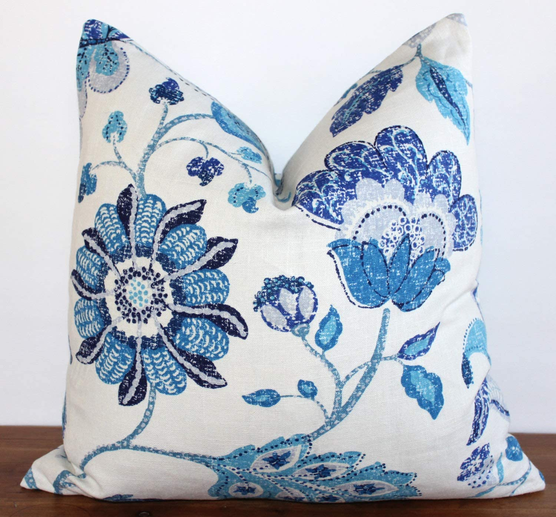 BYRON HOYLE Pillow Cover Robert Allen Floral Blue Cream Ultramarine Home Decor Throw Pillow Cover 18 x 18