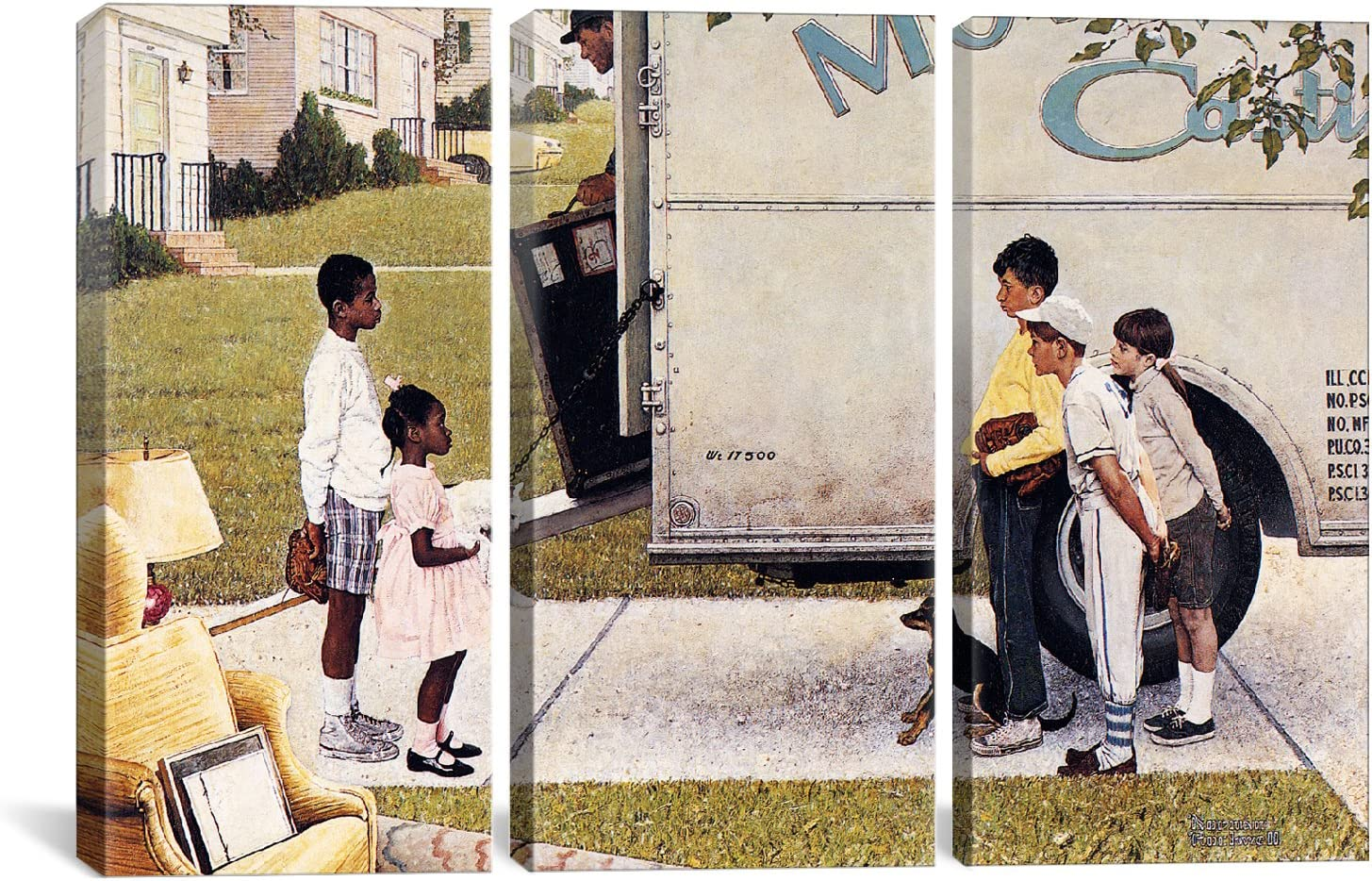 60 x 40//1.5 Deep iCanvasART 3 Piece to Father Christmas Canvas Print by Norman Rockwell