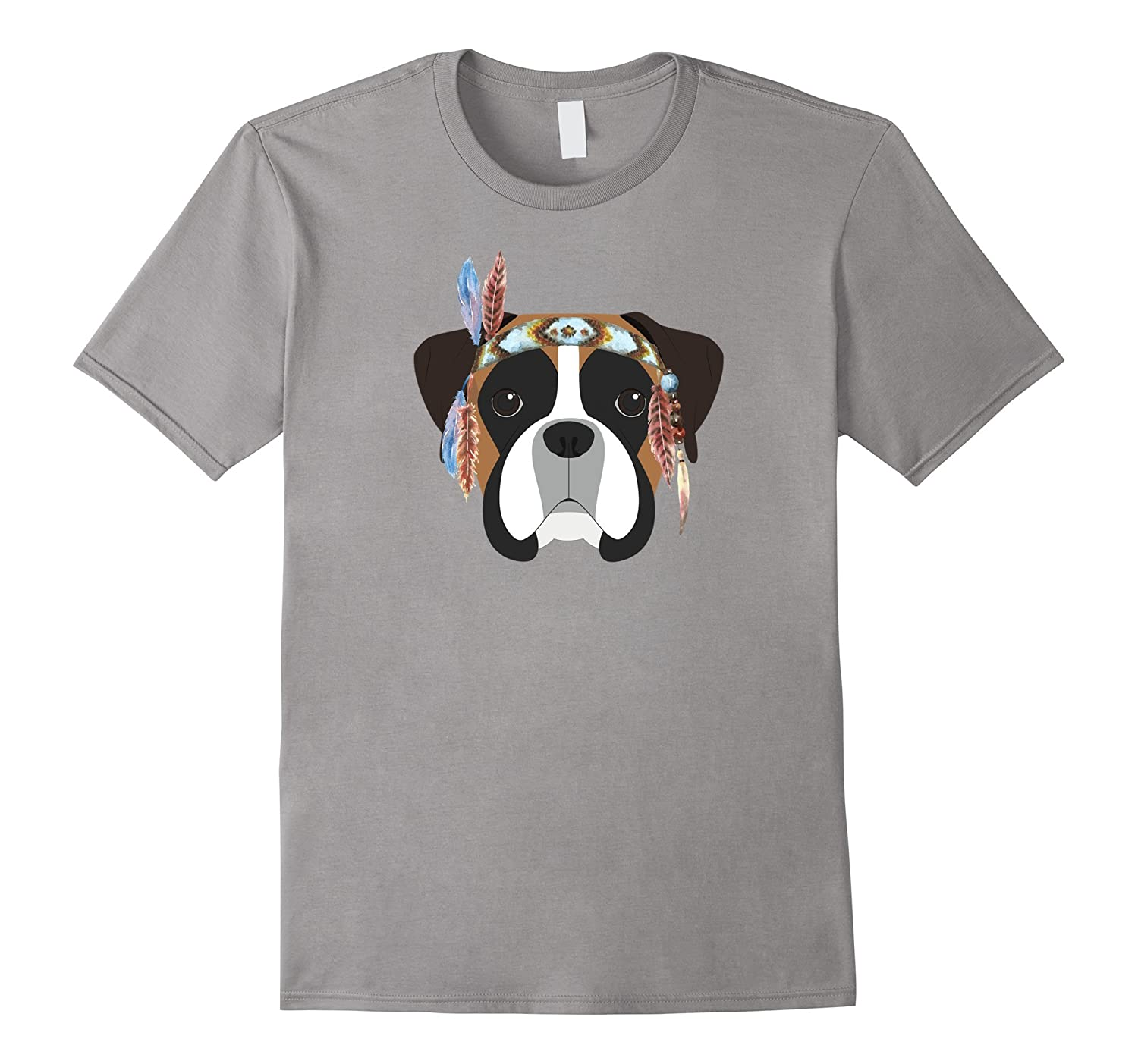 Boxer with Feather Headband Dog Lover T-Shirt