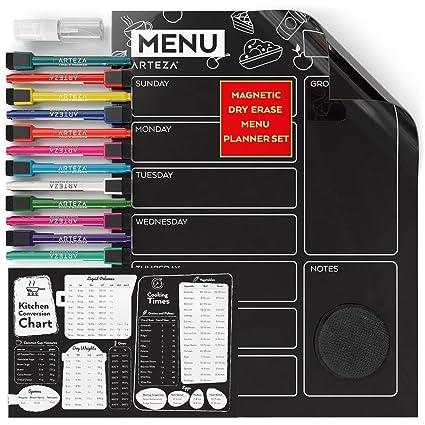 ARTEZA Pizarra magnética negra con planificador de comidas | 40,64 x 30,48 cm | Incluye tabla de medidas para cocina + 12 rotuladores finos de tiza ...