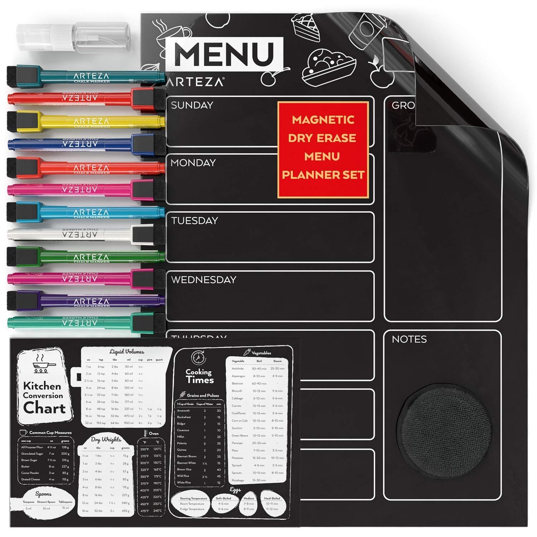 ARTEZA Dry Erase Magnetic Chalkboard Menu Planner Set (16'' x 12'' Black Dry Erase Board, 9'' x 6'' Kitchen Conversion Chart, 12 Colorful fine tip Markers, Microfiber Sponge, Spray Bottle)