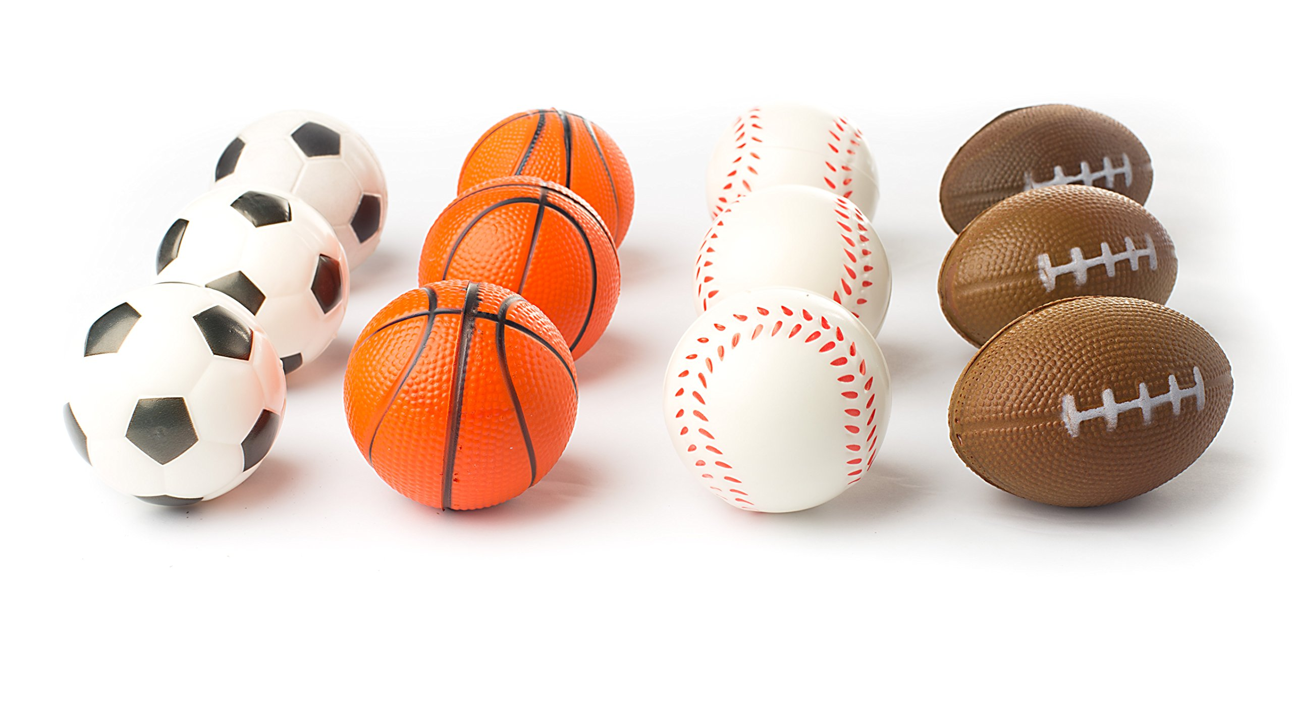12 Sports Themed 2.5'' Stress Balls Squeeze Balls Foam for Stress Relief, Relaxation, Party Favor Toy, Gifts and Prizes (1 Dozen) Includes, Baseballs, Basketballs, Soccer Balls, and Footballs