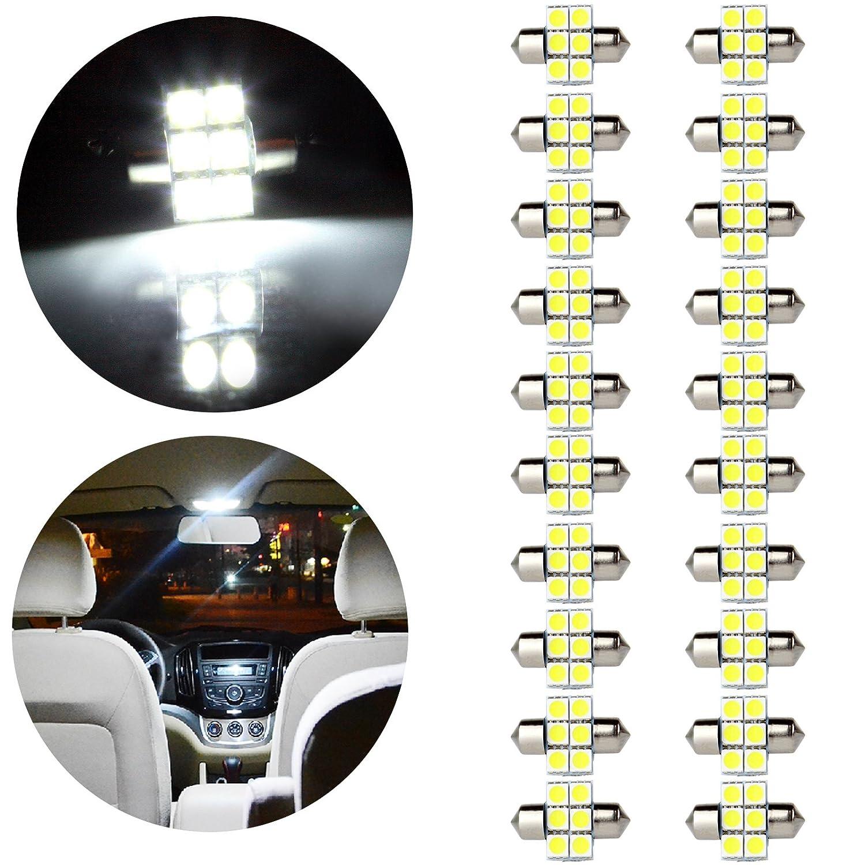 OCPTY 28MM Festoon 6-2835-SMD White Festoon LED Bulbs DE3021 DE3022 Replacement fit for Dome Light Map Light License Plate Cargo Light, 20 Pack 800218-5209-1730291041
