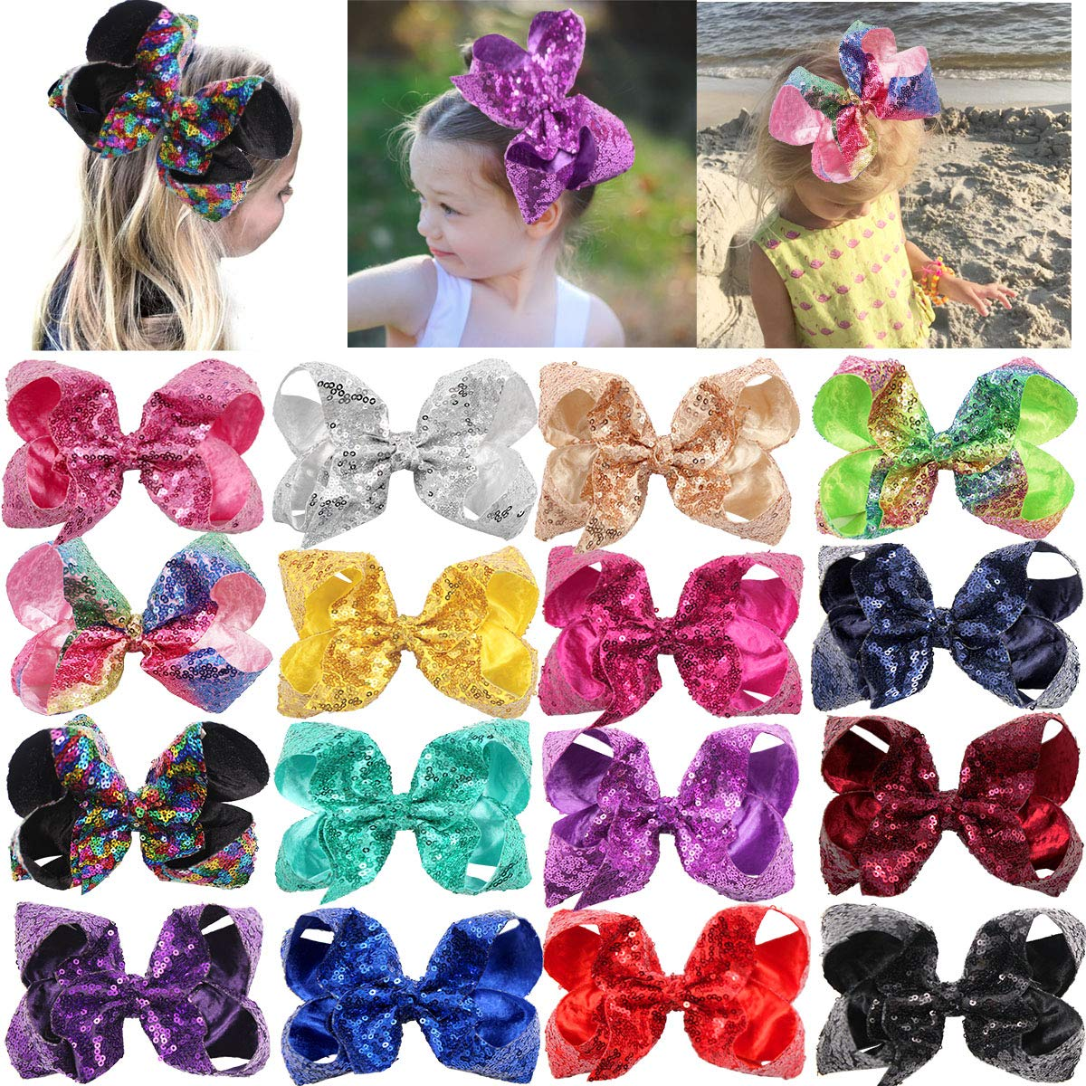 DeD 16 Pieces Large Big Sequin Hiar Bows with Clips 8 Inch Sparly Rainbow Hair Bows Clips for Toddlers Teens Girls by DED