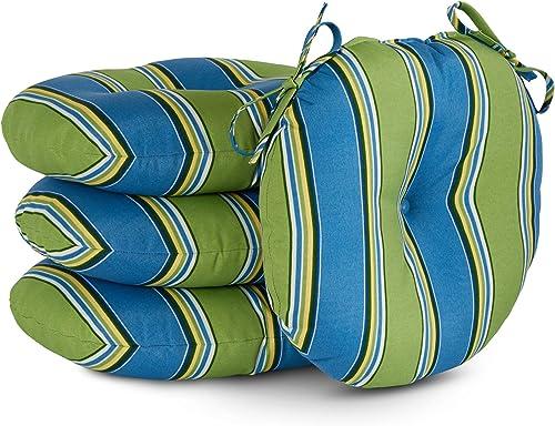 South Pine Porch AM6816S4-Cayman Cayman Stripe 15-inch Round Outdoor Bistro Chair Cushion
