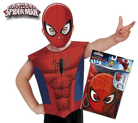 Marvel - Disfraz de Spiderman set de fiesta camiseta + máscara, talla única S-M 3