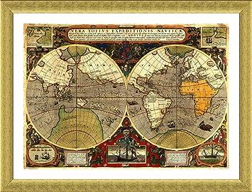 Amazon alonline art antique old vintage v2 world map gold alonline art antique old vintage v2 world map gold framed poster print on 100 gumiabroncs Choice Image