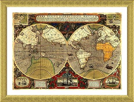 Amazon alonline art antique old vintage v2 world map gold alonline art antique old vintage v2 world map gold framed poster print on 100 gumiabroncs Images