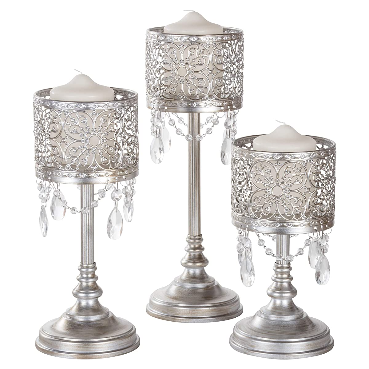 Amalfi Décor Victoria 3-Piece Antique Silver Hurricane Candle Holder Set with Crystals Metal Pillar Wedding Accent Stand
