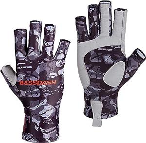 Bassdash ALTIMATE Sun Protection Fingerless Hunting Fishing Gloves UPF 50+ Men's Women's UV Gloves for Kayaking Paddling Hiking Cycling Driving Shooting Training