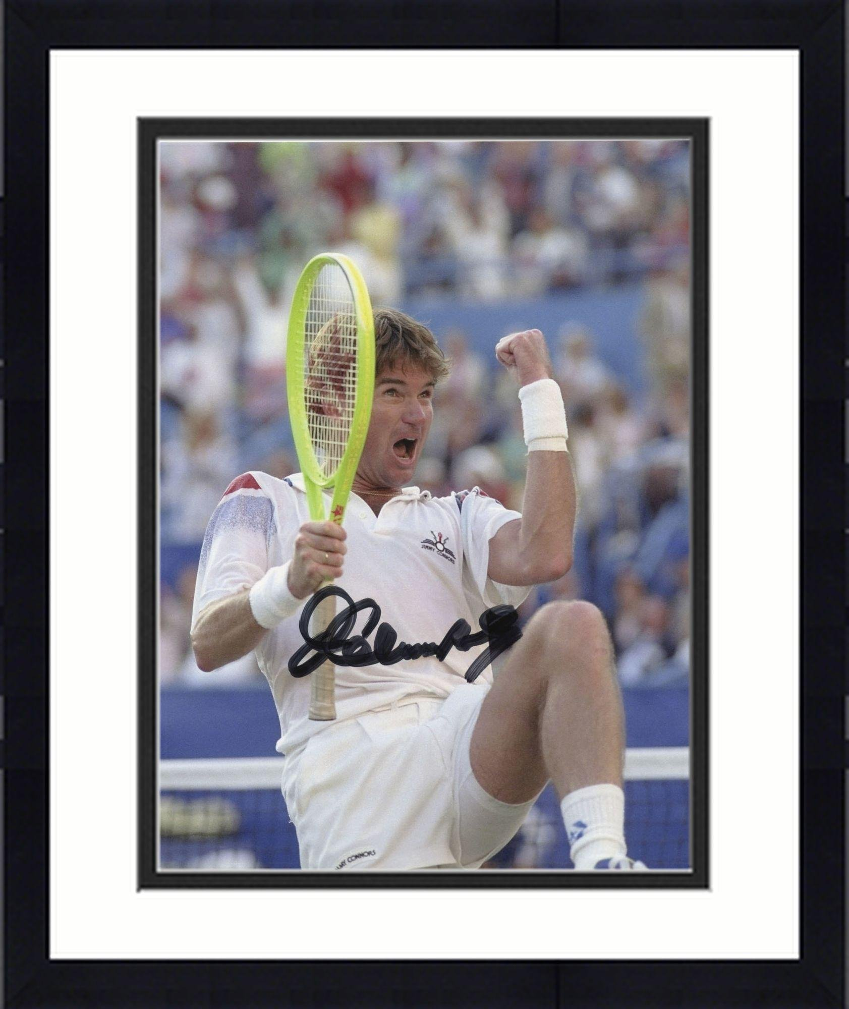 "Framed Jimmy Connors Autographed 8"" x 10"" Fist Pump Photograph Signed in Black Ink Fanatics Authentic Certified"
