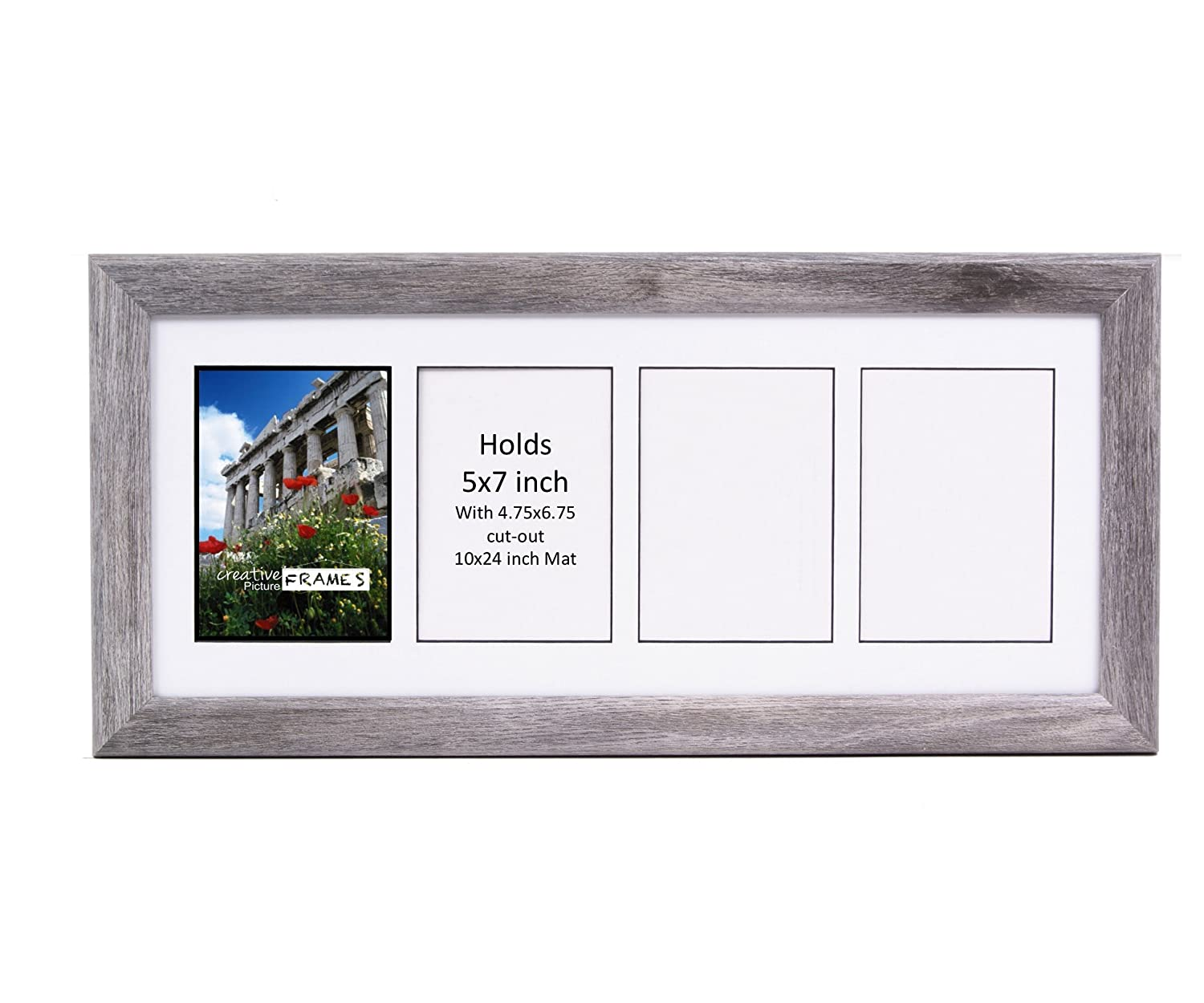 CreativePF - 2- 5 by 7 inch Opening Black Picture Frame with 10x12-inch Black Mat Collage including Full Strength Glass, Alphabet Photography Creative Picture Frames cpf5x7frame12bk-2b