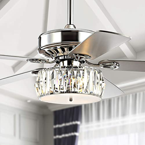 JONATHAN Y JYL9706A Transitional Mandy 3-Light Fandelier with Remote, Crystal Prism Drum LED Ceiling Fan, 52 , Chrome